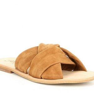 Free People Taupe Rio Vista Suede Slide Sandals